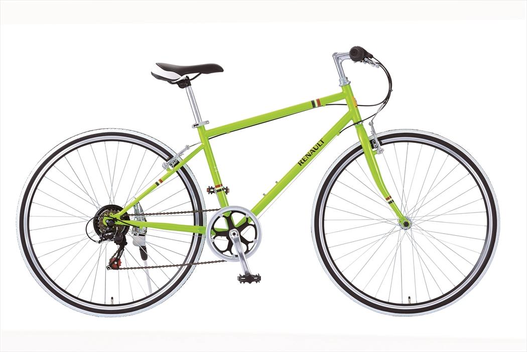 配送先一都三県一部地域限定送料無料 自転車 ルノー CRB7006S 外装6段変速ギア付き 軽量 クロスバイク 700c 緑色 グリーン 自転車 RENAULT ルノー 自転車 クロスバイク おしゃれ