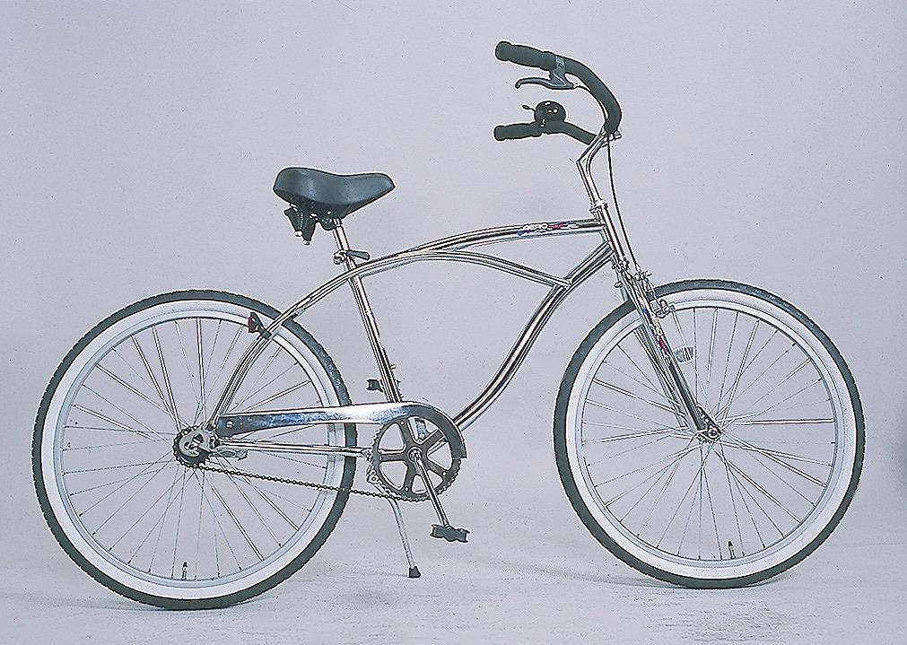 配送先一都三県一部地域限定送料無料 ビーチクルーザー 自転車 HB-260BC-M-CP シルバー 20インチ 26インチ ビーチクルーズ サーファーの定番品!街乗りにファッションに おしゃれ