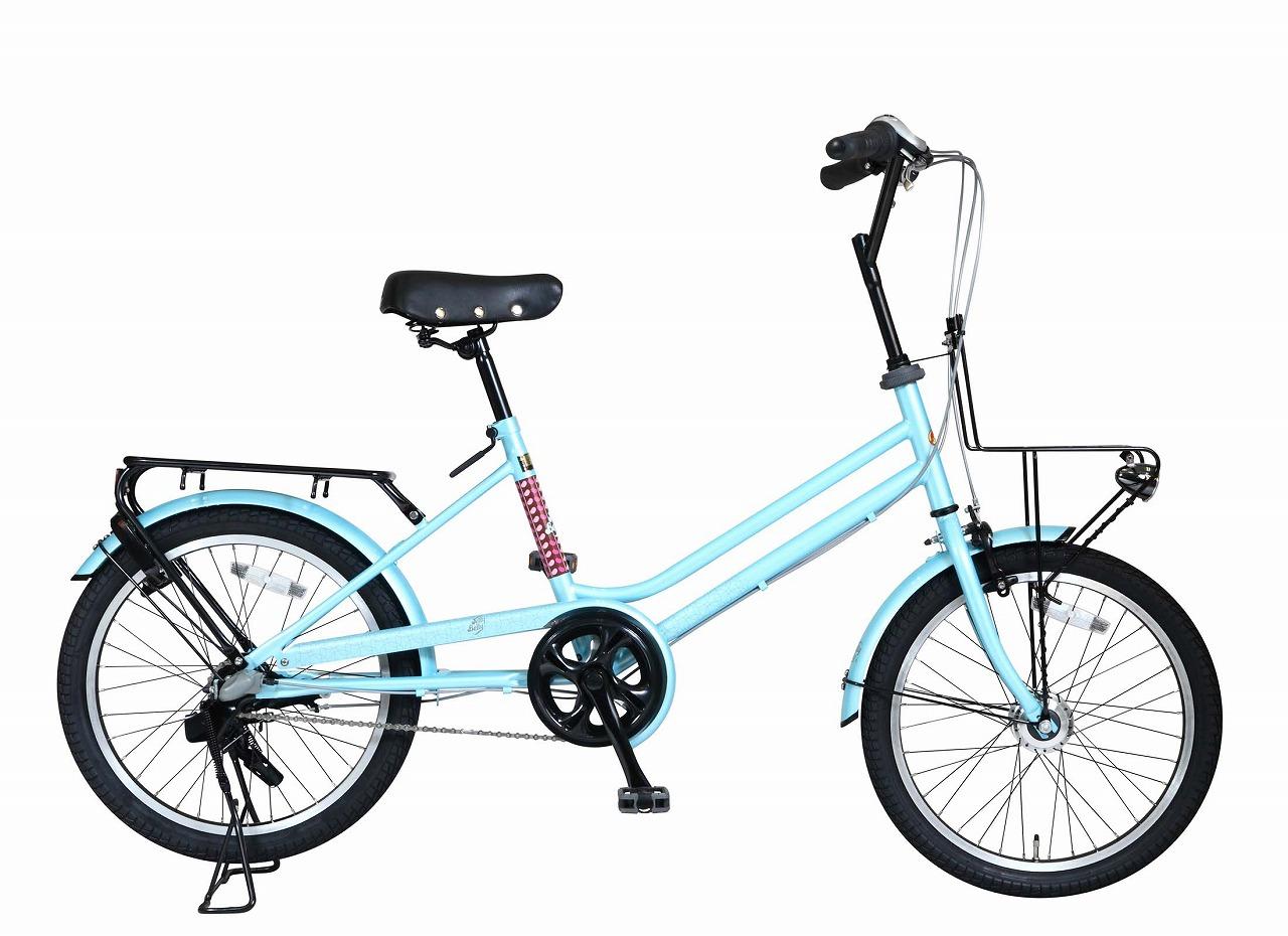 配送先一都三県一部地域限定送料無料 ジェリーベリー ミニベロ 20インチ 自転車 ライトブルー 水色 TJB-203CT-LB 小径車 オートライト おしゃれ