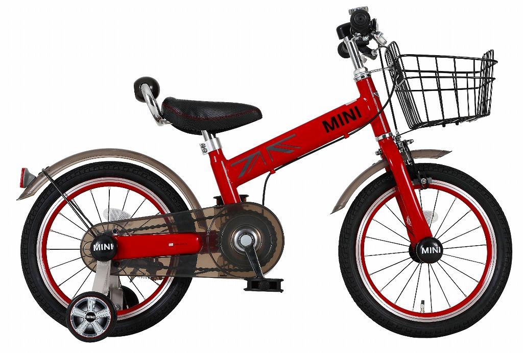 送料無料 MINI KIDS BIKE16 2016モデル 子供用自転車 チリレッド 赤 ミニ 適正身長101~119cm BMW 子供車 補助輪付き かご付き 14インチ ジュニア 自転車 キッズ 子供 激安 安い おしゃれ