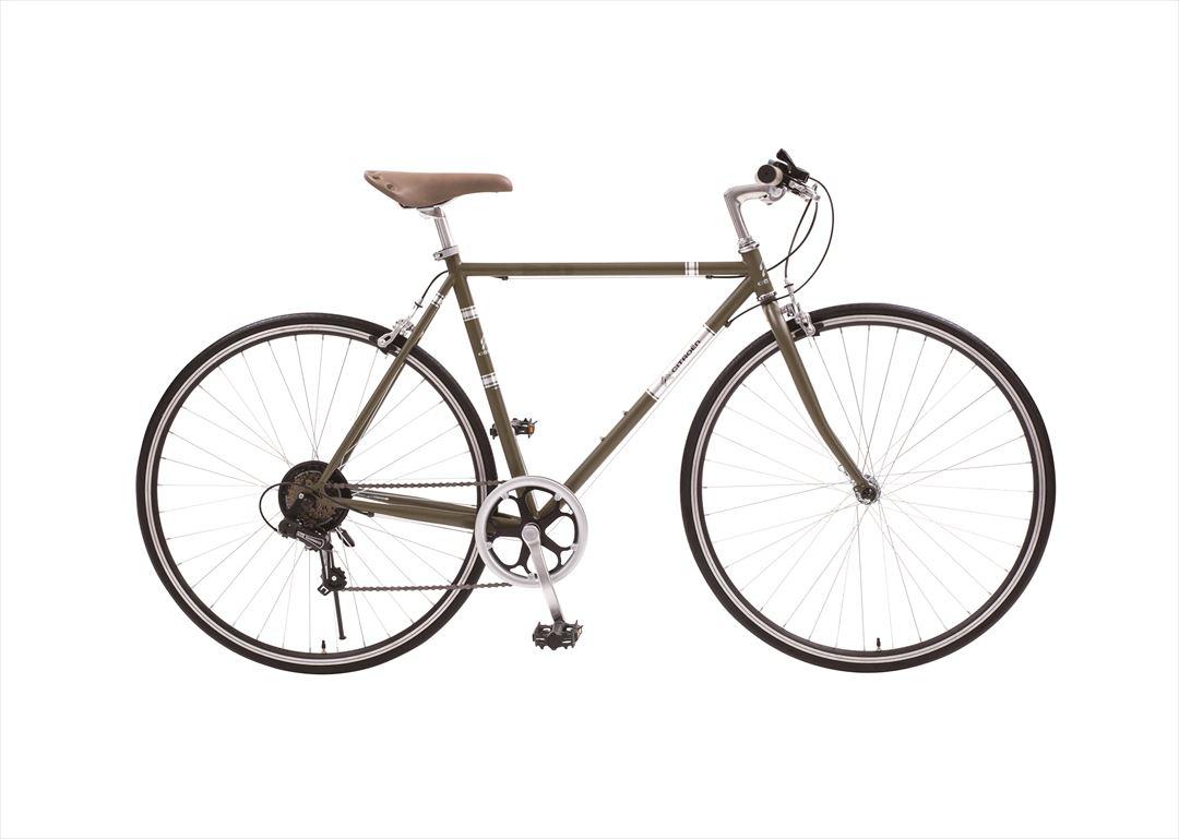 配送先一都三県一部地域限定送料無料 2018年モデル CITROEN TR 7006 シトロエン クロスバイク トレッキングバイク 700c 自転車 軽量 6段ギア オリーブ グリーン 変速付き おしゃれ
