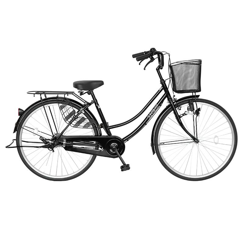 自転車 26インチ ママチャリ 配送先一都三県一部地域限定 送料無料 自転車 すそ ギアなし 軽快車 ブラック 黒色 自転車 ママチャリ サントラスト シンプルフレーム 自転車 シティサイクル 鍵付き おしゃれ 変速なし 本体