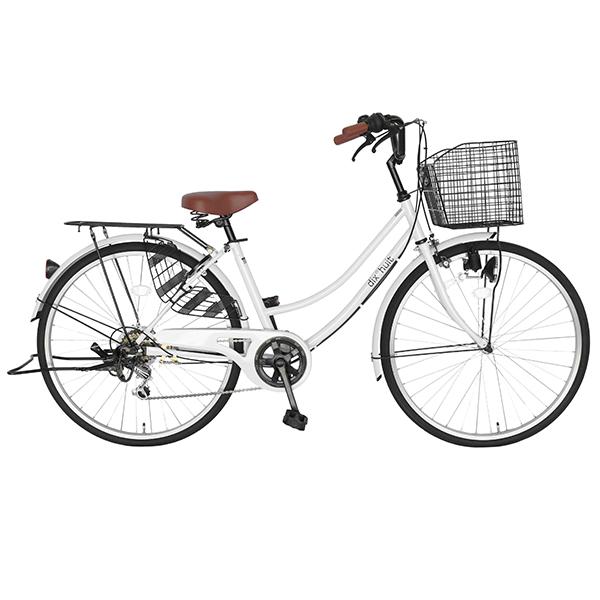 8月中旬以降発送 自転車 ママチャリ 鍵付 26インチ ギア付フレーム dixhuit6段変速ギア ママチャリ 軽快車 自転車 ホワイト デザインフレームで サントラストママチャリ 自転車 シティサイクル女の子 おしゃれ