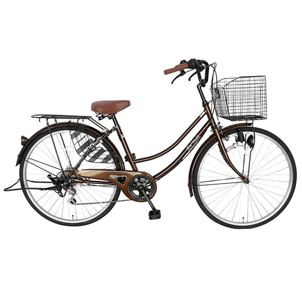 8月中旬以降発送 自転車 鍵付 ギア付 26インチフレーム dixhuit6段変速ギア ブラウン シティサイクル 軽快車 ママチャリ 自転車 デザインフレームで サントラストママチャリ自転車 女の子 おしゃれ
