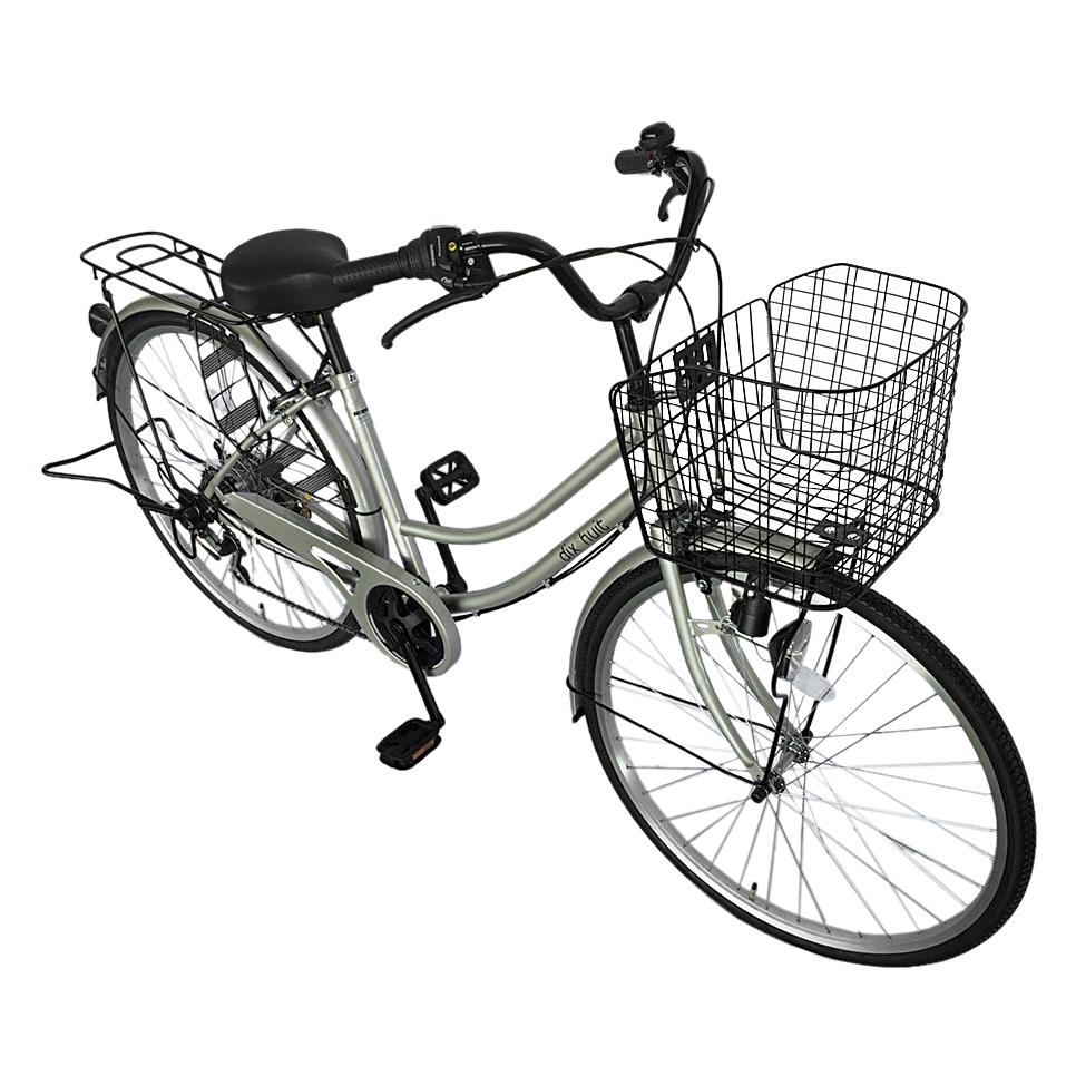 自転車 ギアつき ディズウィット 6段変速ギア dixhuit 自転車 かわいいママチャリ シルバー 銀 外装6段ギアつきサントラスト SUNTRUST 自転車 26インチ 軽快車 ママチャリ 自転車 シティサイクル 女の子 おしゃれ