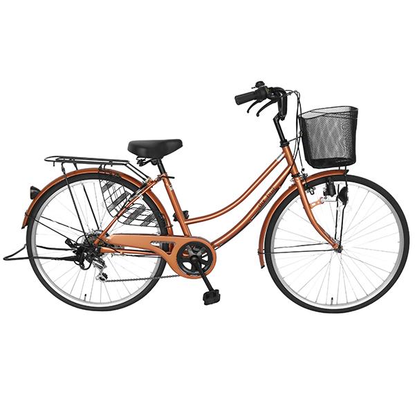 自転車 dixhuit シティサイクル ママチャリ かわいい オレンジ サントラスト SUNTRUST 自転車 外装6段ギアつき シマノ製 26インチ 軽快車 ママチャリ 自転車 女の子 おしゃれ