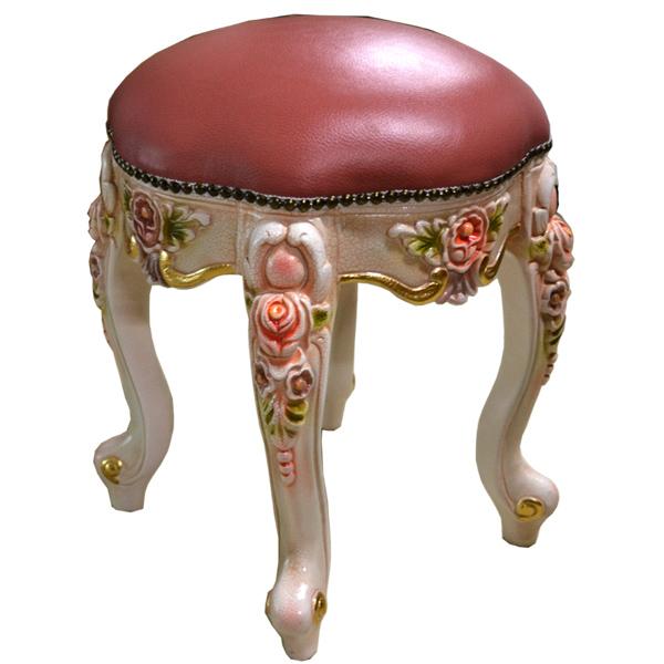 (処分価格) 送料無料 ロココ調家具 :猫脚の丸いスツール1705 02P05Dec15