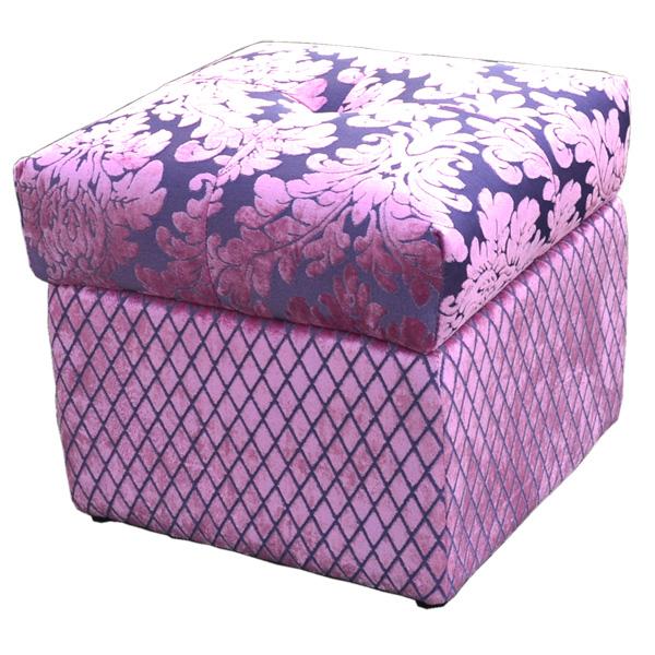 ロココ調ファブリックボックススツールA0101:四角:ピンク