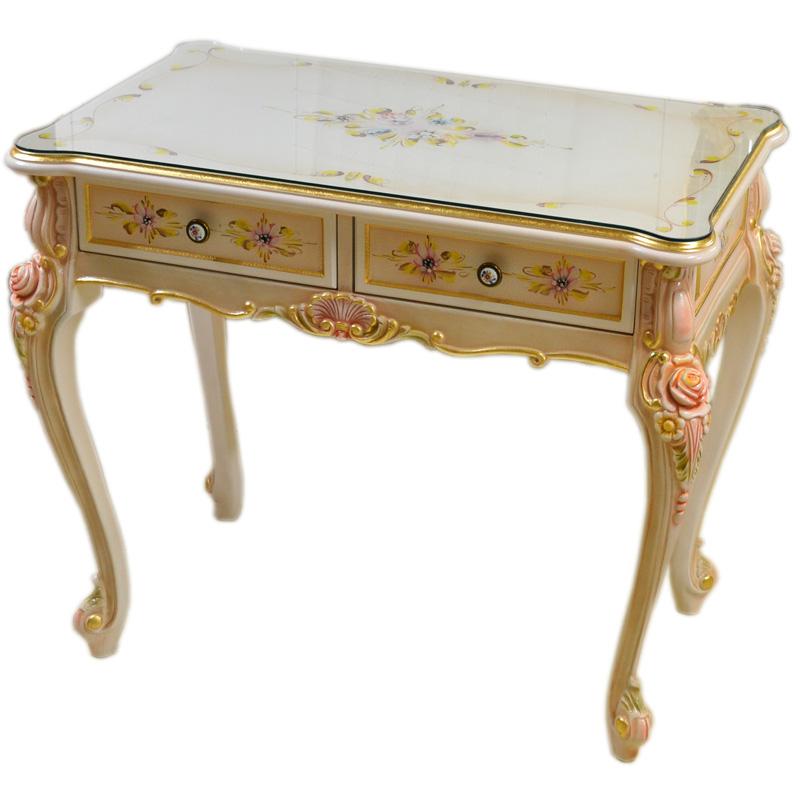 輸入家具:お姫様のロココ調家具:お花のスモールデスク2304【送料無料】