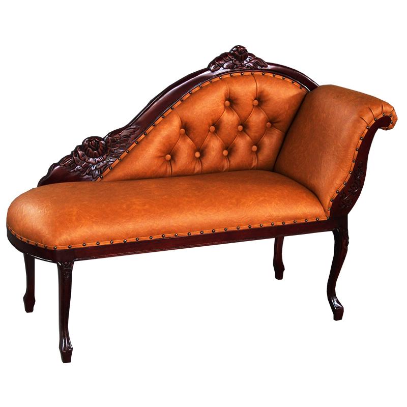 【送料無料】輸入家具:ロココ調マホガニーカウチソファ:PVCブラウン