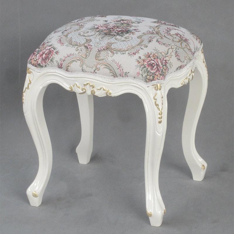アンティーク調マホガニー家具:猫脚スツール:ビクトリアンホワイト:ファブリックA【送料無料】白家具