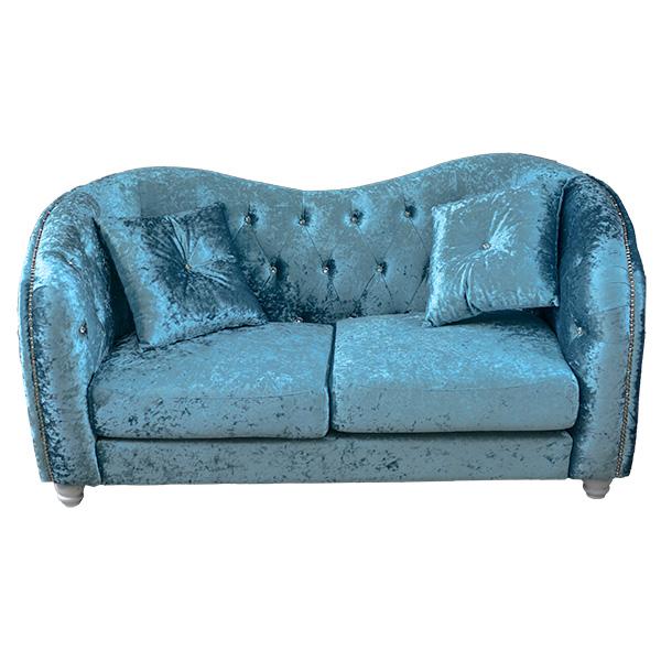 ロココ調家具クリスタルが綺麗なラブソファ:ブルー【送料無料】