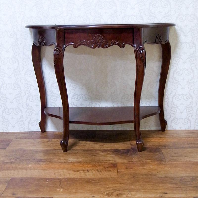 輸入家具:高級マホガニー猫脚コンソール90:ブラウン(引き出し付)