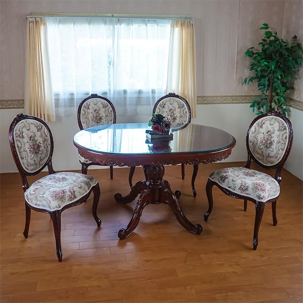 楕円135花柄 アンティーク調 マホガニー家具 ダイニング テーブル 5点セット ブラウン(お客様組み立て)
