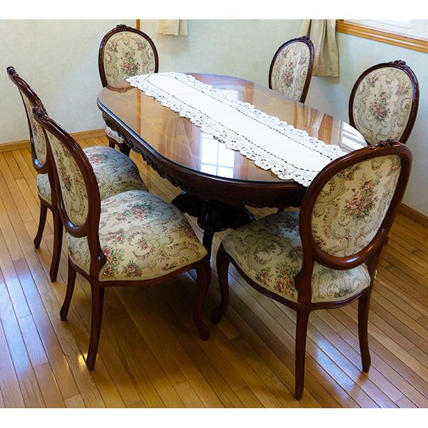 激安価格 150x90 花柄 アンティーク調 マホガニー家具 ダイニングテーブル 7点セット 楕円 ブラウン