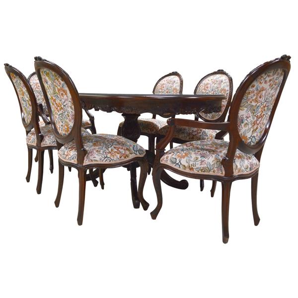 150*90無地(送料無料)アンティーク調マホガニー家具:ダイニングテーブル5点セット楕円:ブラウン