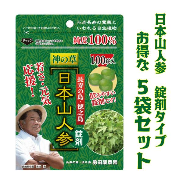 健康 サプリ エイジングケア 美容 ダイエット【送料無料】日本山人参 錠剤 5袋セット(ヒュウガトウキ)