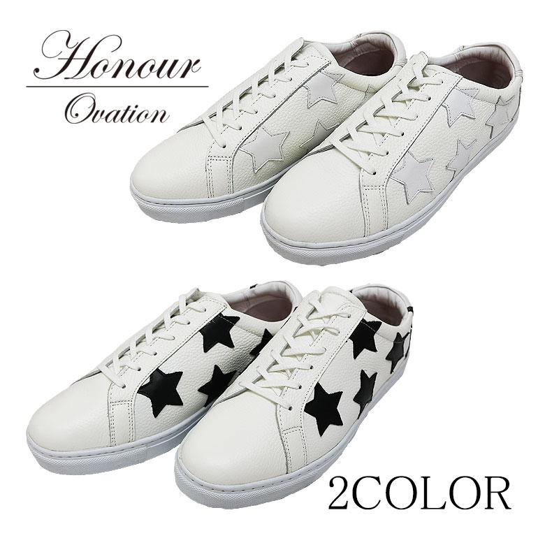 【Honour Ovation】アナーオベーション STARデザインスニーカー レザースニーカー 白 黒 ホワイト ブラック 星 スター