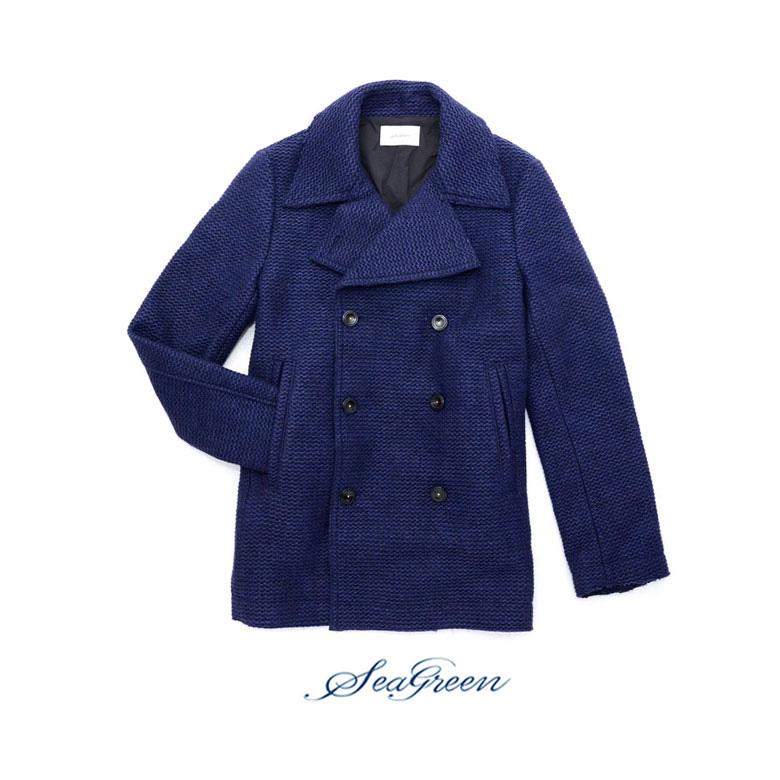 【SEA GREEN】シーグリーンローゲージPコート ピーコート メンズ コート ウール ジャケット ウールコート ローゲージ アウター 送料無料 SEAGREEN ブランド