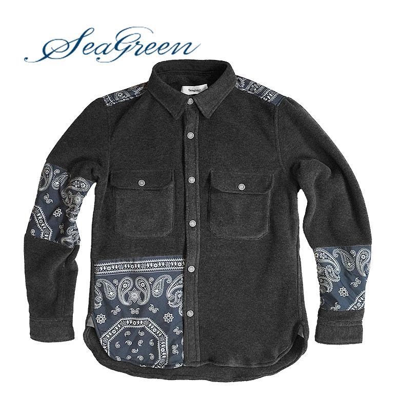 【SEAGREEN】シーグリーン フリースジャケット ポーラテック ペイズリー柄 ラウンドカット 軽量 暖かい 通気性 耐久性 速乾性 送料無料 メンズ カジュアル