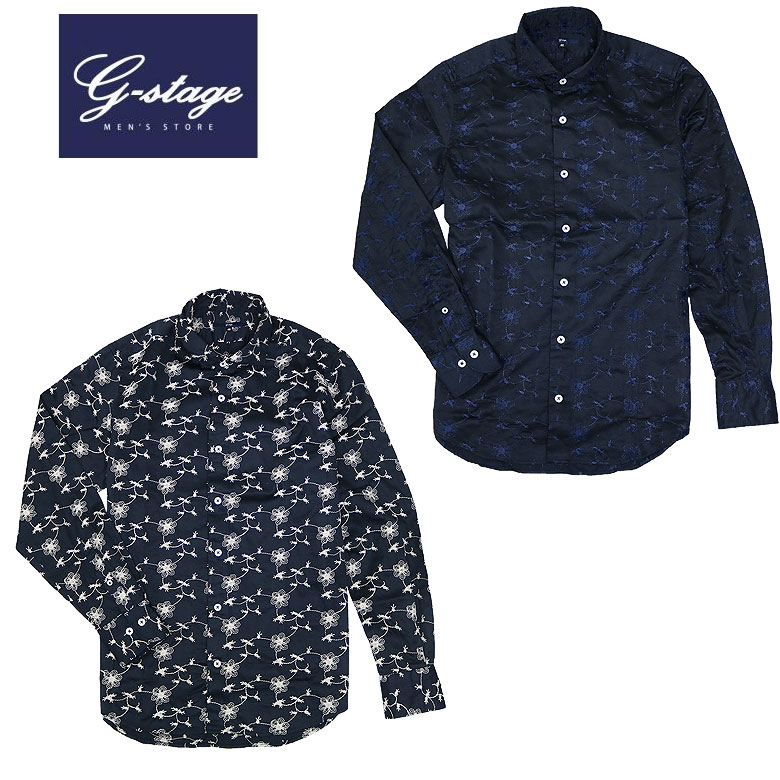 【g-stage】ジーステージ フラワー刺繍カジュアルシャツ 起メンズシャツ タックアウト 花柄 カジュアル