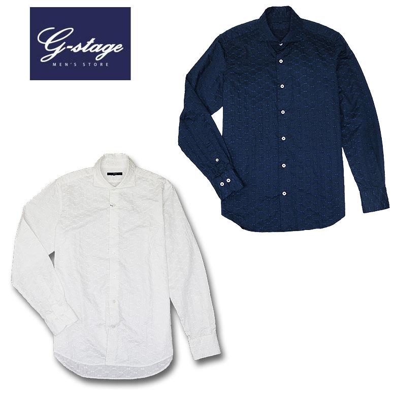【g-stage】ジーステージ 総柄刺繍カジュアルシャツ 長袖シャツ ドレスシャツ 花柄 エレガント セミワイド
