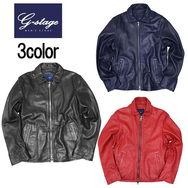 【g-stage】ジーステージカラーシープレザーシングルライダースブルゾン レザージャケット シングル ライダース 羊革