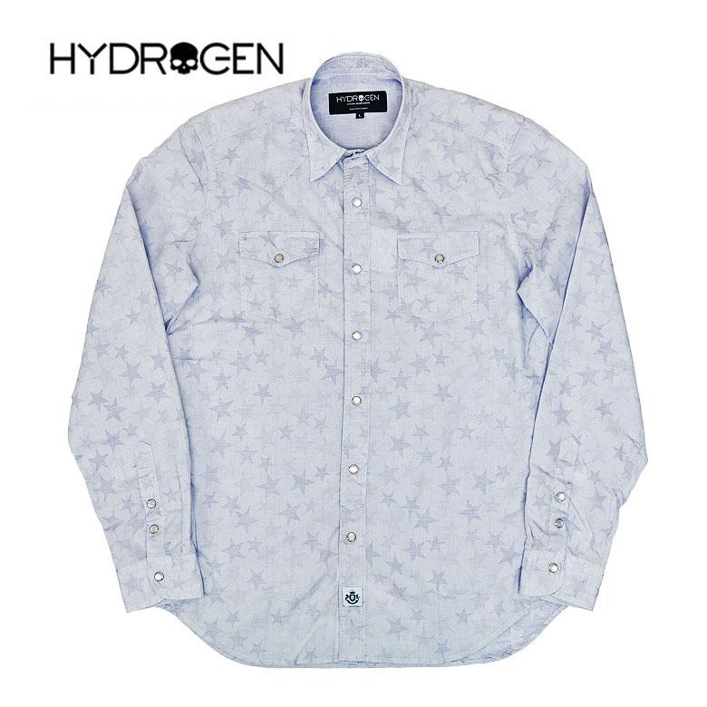 【HYDROGEN】ハイドロゲン スタープリントライトブルーシャツ ウエスタンシャツ 長袖シャツ スター 総柄