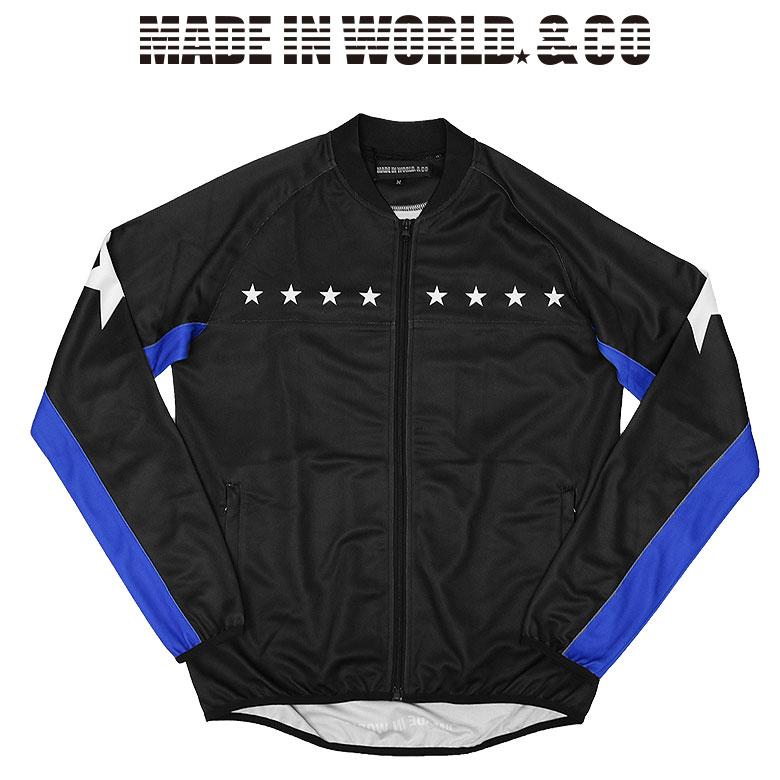 【MADE IN WORLD☆&CO】メイドインワールドアンドシーオー warm up jacket リブネックウォームアップジャケット ストリート 半ラバープリント