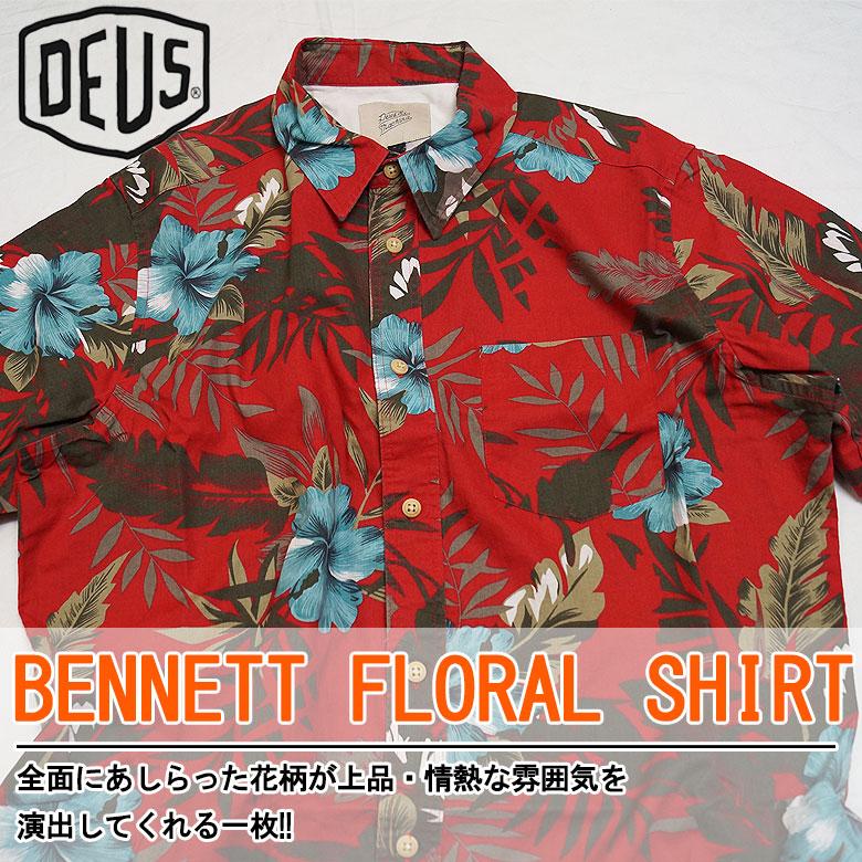 71bffde88ba0 Deus ex machina BENNETT FLORAL SHIRT floral design short sleeves shirt  showy men casual surf individual round cut