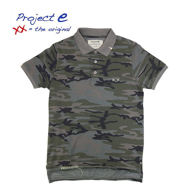 【Project e】プロジェクト イー カモフラポロシャツ 刺繍 ユーズド加工 ステッチワーク メンズ カットオフ カモフラージュ