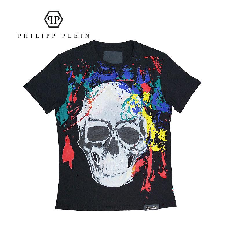 【PHILIPP PLEIN】フィリップ プレイン 半袖Tシャツ スカル インパクト 高級 メンズ カジュアル Hot プレート 革