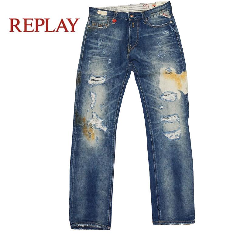 【REPLAY】リプレイ ダメージジーンズ デニム ジーンズ レギュラーフィット ダメージ加工 ウォッシュ 5ポケット ハイクラス