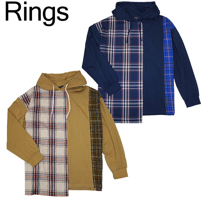 【Rings】リングス フード付き長袖Tシャツ チェック柄 切り替え インパクト 大胆