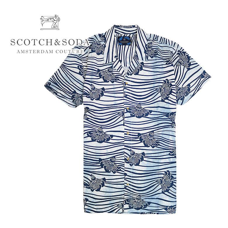【SCOTCH&SODA】スコッチアンドソーダ 半袖シャツ フラワー 花柄 メンズ リゾート ブランドパッチ 総柄