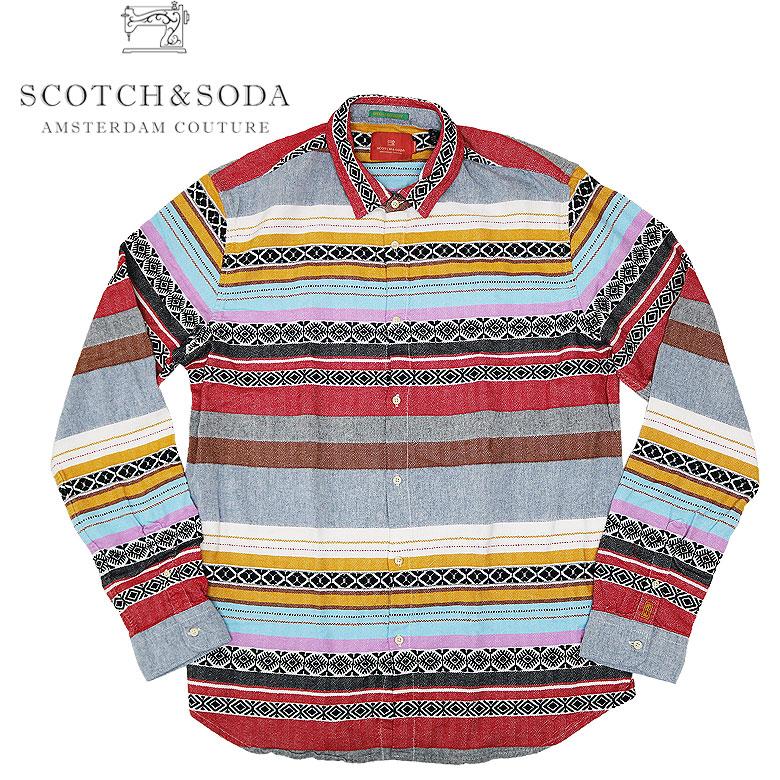 【SCOTCH&SODA】スコッチアンドソーダ Jacquard Pattern Shirt ジャガードロングスリーブシャツ 長袖シャツ 独特 メンズ カジュアル