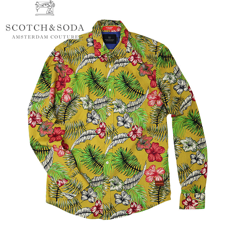 【SCOTCH&SODA】スコッチアンドソーダ ボタニカルデザインシャツ ロングスリーブシャツ 長袖シャツ 総柄 花柄 カジュアル