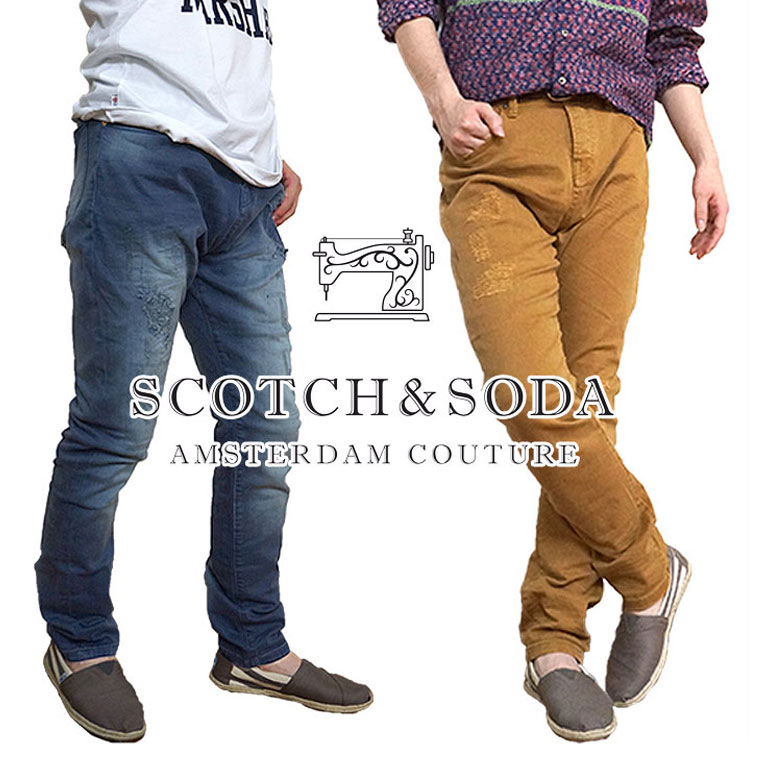 【SCOTCH&SODA】 スコッチ&ソーダ スコッチアンドソーダ スコッチ アンド ソーダ デニム ダメージ加工 リペア加工 ストレッチ スーパースリムフィット
