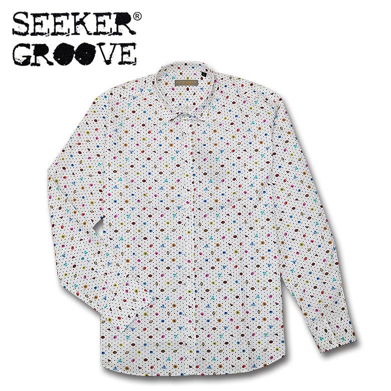 【SEEKER GROOVE】シーカーグルーブ 花柄コットンシャツ 花柄 フラワーデザイン 長袖 メンズ カジュアル クラシック