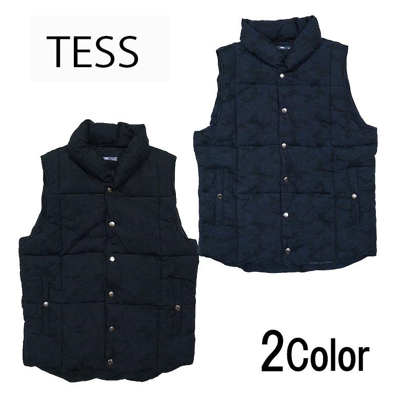 【TESS】テス カモフラ中綿ベスト カジュアル メンズ シンプル ジレ 2016秋冬新作