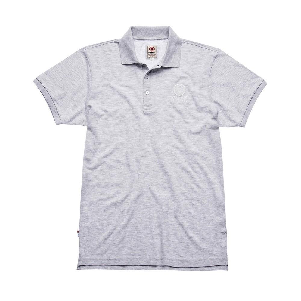 フランクリンアンドマーシャルポロシャツ 半袖メンズ ライトグレー ワンポイントロゴロゴ刺繍 コットンピケ