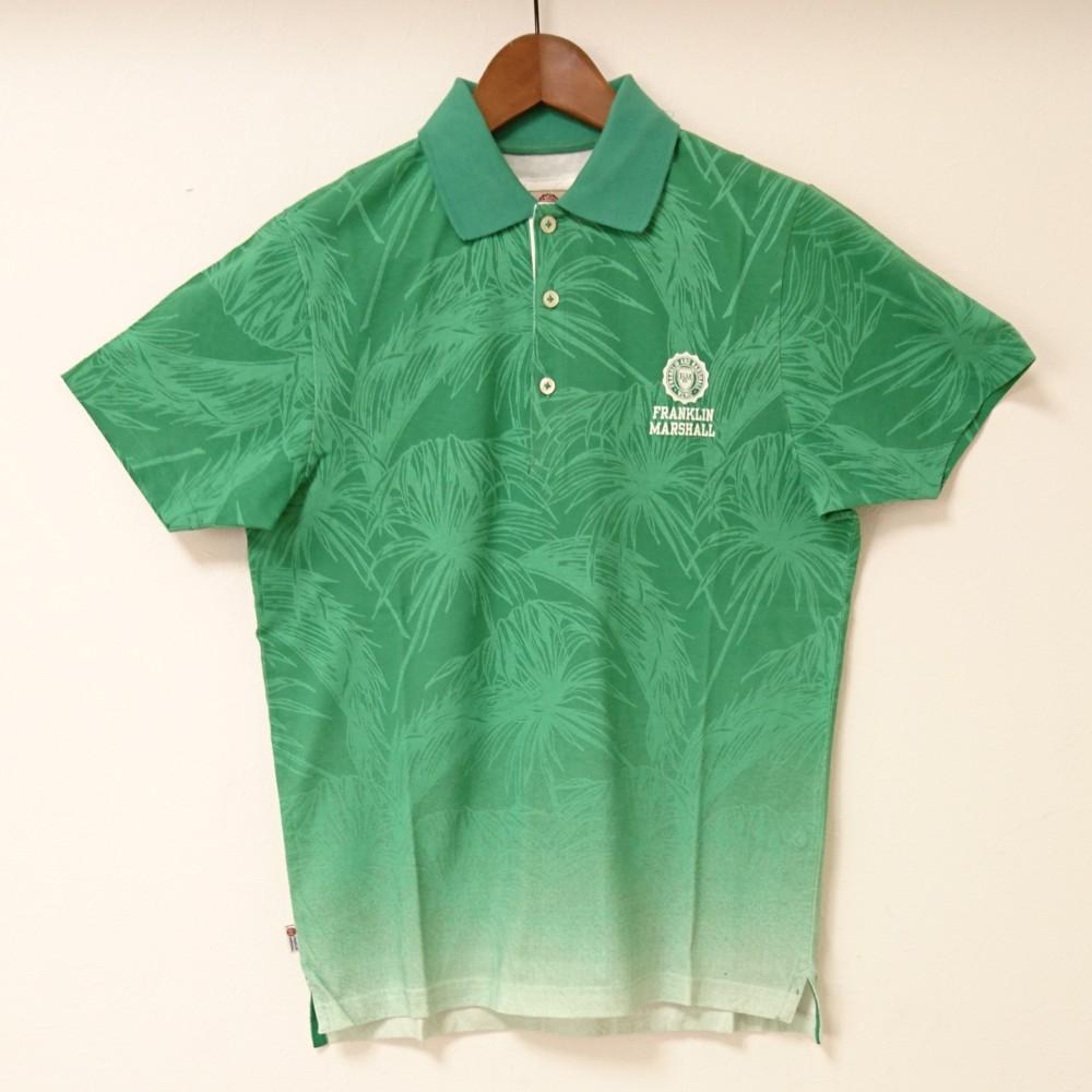 フランクリンアンドマーシャルポロシャツ 半袖メンズ グラデーション グリーン ワンポイントロゴロゴプリント コットン