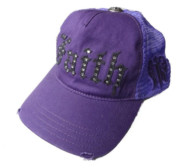 페이스코네크션캐프■Faith Connexion■BASIC CAP WITH DIAMONDS■퍼플
