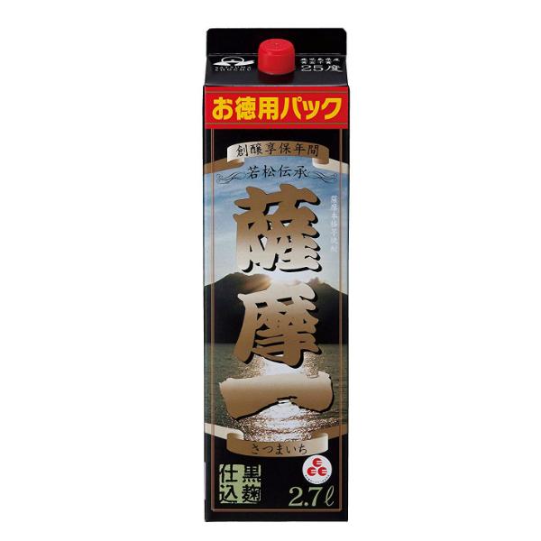 【芋 いも 焼酎 紙パック】【本州のみ 送料無料】薩摩一 黒麹仕込み 2700mlパック×2ケース(8本)《008》