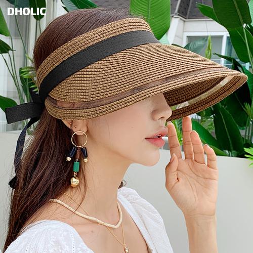 夏らしい素材のサンバイザー シアーラインリボンサンバイザー 全3色 売り出し n60477 レディース acc 韓国 送料無料 ファッション 帽子 サンバイザー リボン ワイド バックゴム 日差しよけ カジュアル かわいい 紫外線防止 夏 シアー