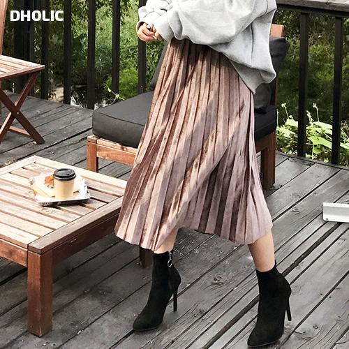 【DHOLIC】ウエストストレッチベロアプリーツスカート