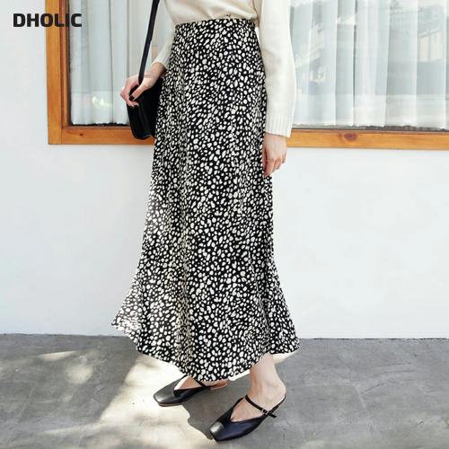 【DHOLIC】ロングレオパードスカート