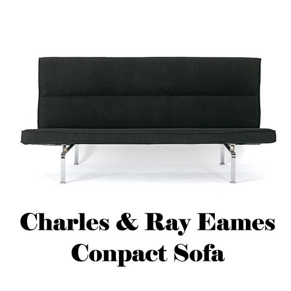 【送料無料】イームズ コンパクトソファ3人掛け ファブリック仕様 デザイン家具 2色展開(ブラック/レッド)