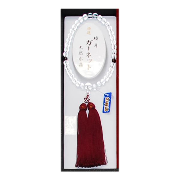 誕生石入天然水晶女性用念珠-1月:ガーネット[ヨ]kuin_Y171109100201001