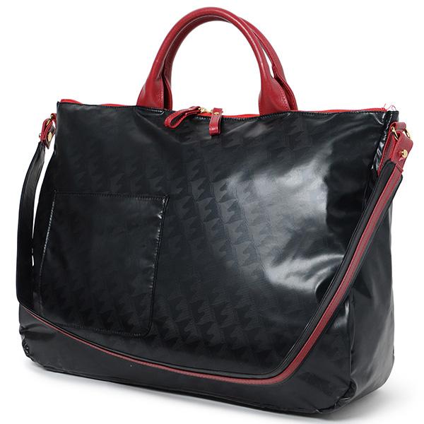 〈マダムヒロコ〉ハンドバッグ ウルトラ軽量 2ウェイミドルボストンバッグ-ブラック/レッド-0062-黒赤[キ]fash_Y180517100105001